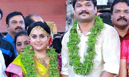 നടി മേനകയുടെ മകള് രേവതി ഗുരുവായൂര് ക്ഷേത്രസന്നിധിയില് വിവാഹിതയായി